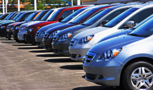 Row of new cars on lot